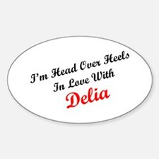 In Love with Delia Oval Decal