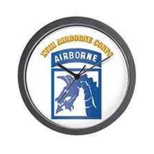 SSI - XVIII Airborne Corps with Text Wall Clock