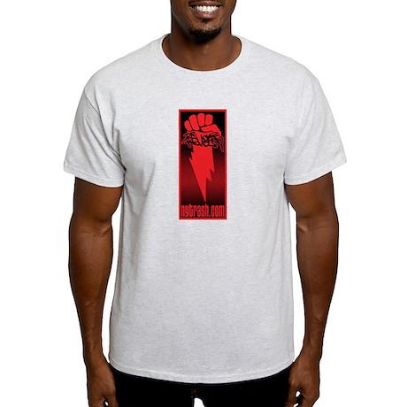 DR. REVOLT/N.Y. TRASH FIST on ash grey t-shirt