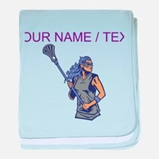 Custom Womens Lacrosse Player baby blanket