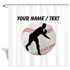 Custom Baseball Pitcher Silhouette Shower Curtain