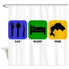 Eat Sleep Fish Shower Curtain