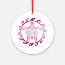 Pink Tribal Turtle Sun Ornament (Round)