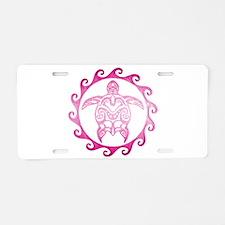 Pink Tribal Turtle Sun Aluminum License Plate