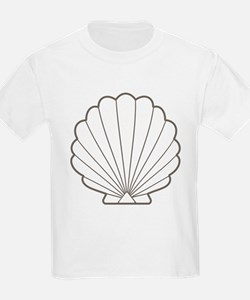 Wet Sand Brown | White Clamshell Seashell T-Shirt