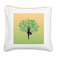 Yoga Tree Pose Square Canvas Pillow