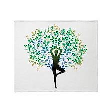 Yoga Tree Pose Throw Blanket