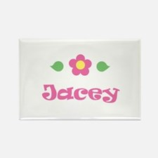 "Pink Daisy - ""Jacey"" Rectangle Magnet"