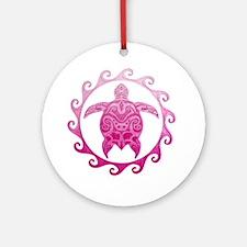 Pink Turtle Sun Ornament (Round)