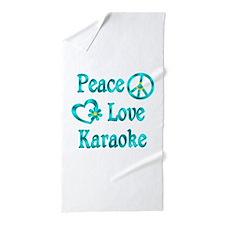 Peace Love Karaoke Beach Towel