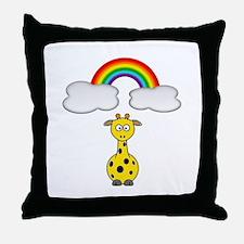 Giraffe & Rainbow Throw Pillow