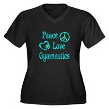 Peace Love Gymnastics Women's Plus Size V-Neck Dar
