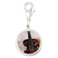 vintage violin Silver Round Charm