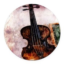 vintage violin Round Car Magnet