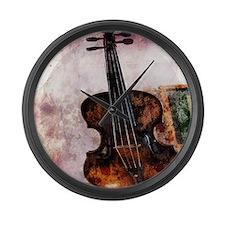 vintage violin Large Wall Clock