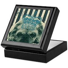 funny pug  stripes pattern Keepsake Box