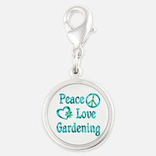 Peace Love Gardening Silver Round Charm