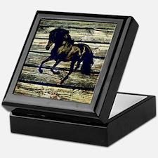 black horse barnwood cowboy Keepsake Box