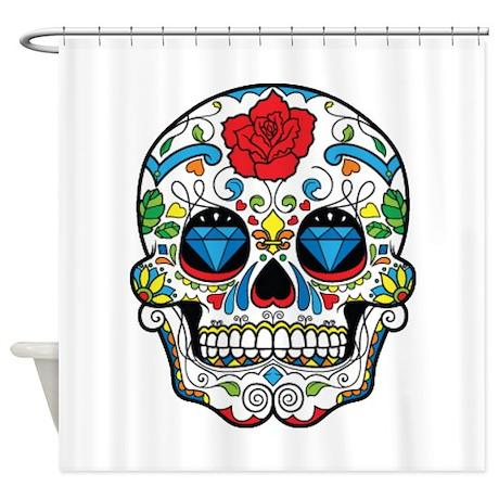 dark sugar skull shower curtain by tees4sale. Black Bedroom Furniture Sets. Home Design Ideas