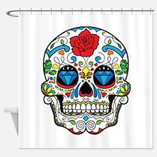 Dark Sugar Skull Shower Curtain