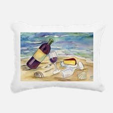 Wine Beach Party Rectangular Canvas Pillow