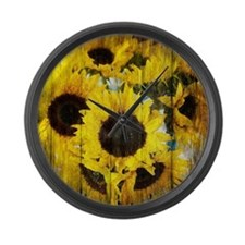 country sunflower western fashion Large Wall Clock