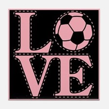 Love Soccer Pink Tile Coaster