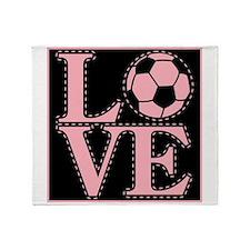 Love Soccer Pink Throw Blanket