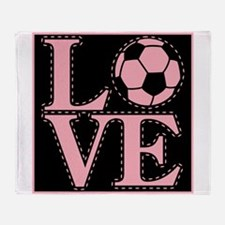 Love Soccer Pink Throw Blanket
