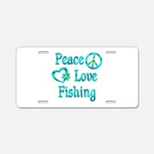 Peace Love Fishing Aluminum License Plate