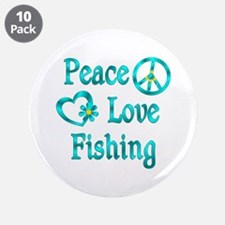 """Peace Love Fishing 3.5"""" Button (10 pack)"""