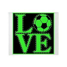 Love Soccer Green Throw Blanket