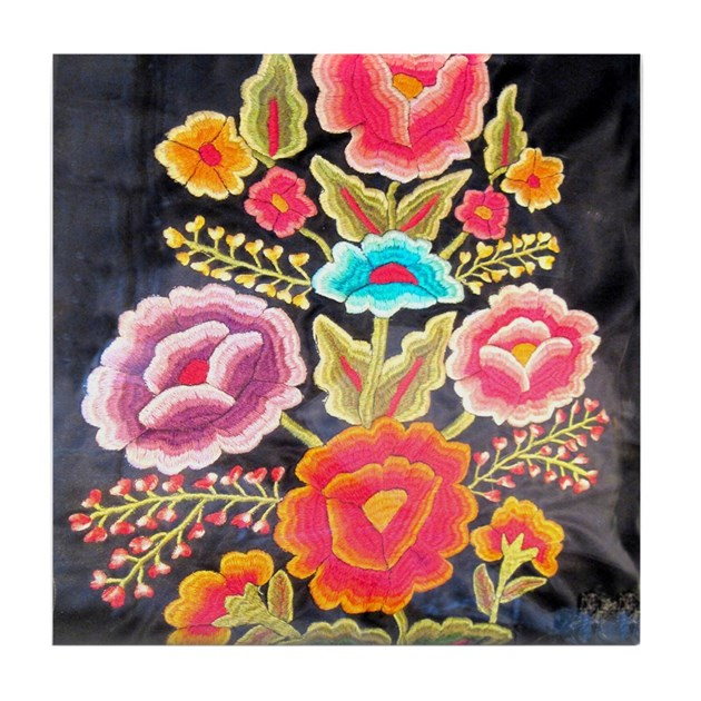 Mexican embroidery design tile coaster by beautyofmexico