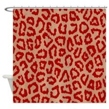 Red Leopard Print Art Shower Curtain