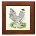 Self Blue Rooster Framed Tile
