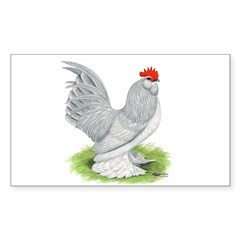 Self Blue Rooster Rectangle Decal