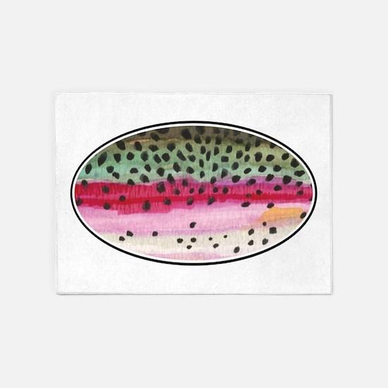 Rainbow Trout Fishing 5'x7'Area Rug