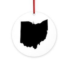 Black Ohio Round Ornament