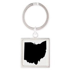 Black Ohio Square Keychain