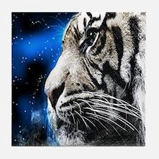white tiger stars fashion Tile Coaster