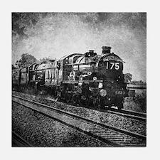 vintage steam train Tile Coaster