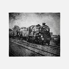 vintage steam train Throw Blanket