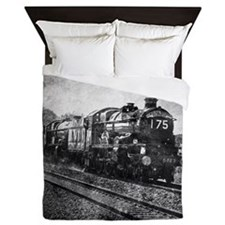 vintage steam train Queen Duvet