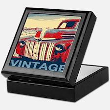 vintage farm truck Keepsake Box