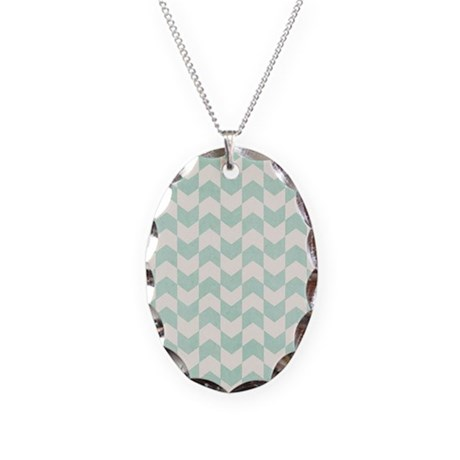 aqua chevron necklace oval charm by listing store 37129707
