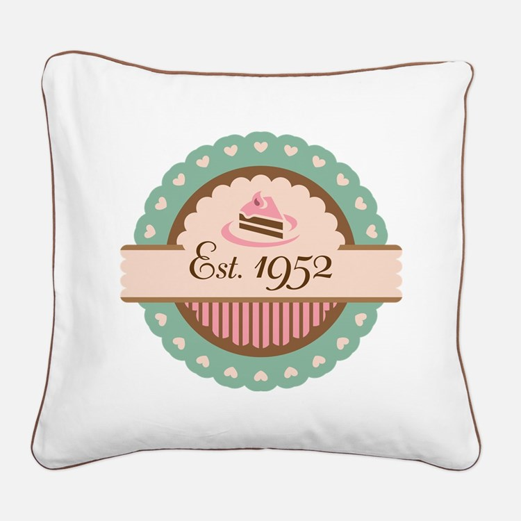 1952 Birth Year Birthday Square Canvas Pillow