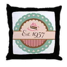 1957 Birth Year Birthday Throw Pillow
