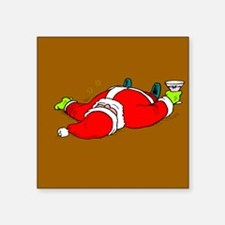"""Partied Out Santa Square Sticker 3"""" x 3"""""""