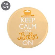 """Keep Calm and Bake On 3.5"""" Button (10 pack)"""