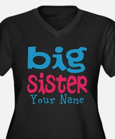 Personalized Big Sister Women's Plus Size V-Neck D